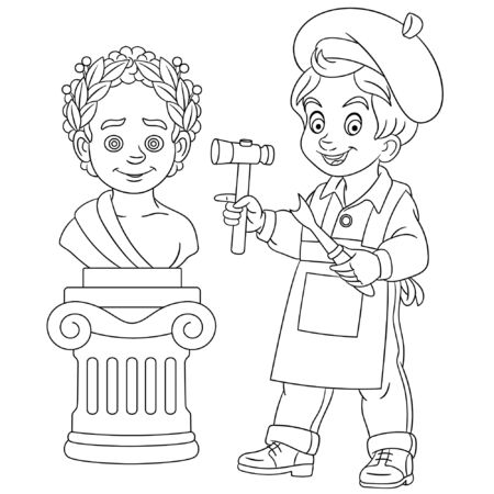 Coloring page. Coloring picture of cartoon boy sculptor, craftsman sculpting a statue of roman emperor. Childish design for kids activity colouring book about people professions.