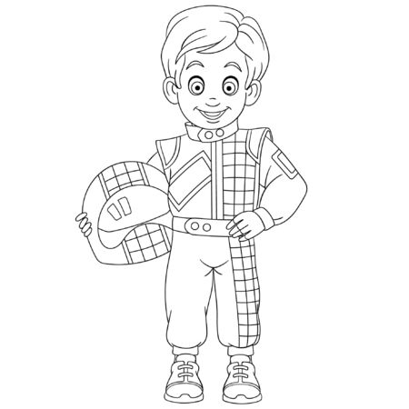 Coloring page. Coloring picture of cartoon boy auto car racer. Childish design for kids activity colouring book about people professions.