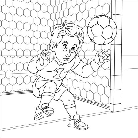 Coloring page. Coloring picture of cartoon football goalkeeper, boy trying to catch a ball. Childish design for kids activity colouring book about people professions.