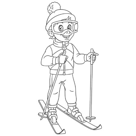 Coloring page. Coloring picture of cartoon skier, boy ski running. Childish design for kids activity colouring book about people professions. Illusztráció