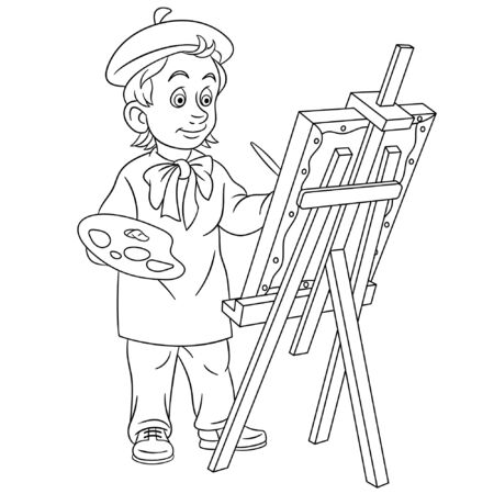 Coloring page. Coloring picture of cartoon painting artist. Childish design for kids activity colouring book about people professions. Archivio Fotografico - 138289626