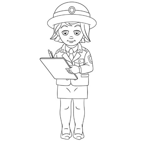 Coloring page. Coloring picture of cartoon police woman writing report. Childish design for kids activity colouring book about people professions. Illustration