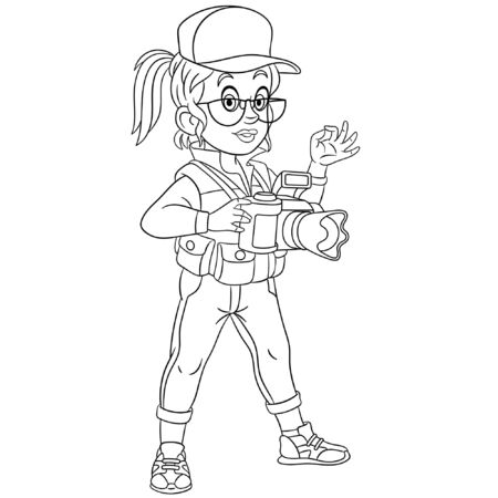 Coloring page. Coloring picture of cartoon photographer, woman taking photos. Childish design for kids activity colouring book about people professions.