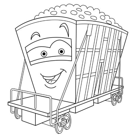 Coloring page. Coloring picture of cartoon railway carriage. Childish design for kids activity colouring book about transport.
