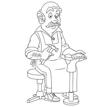 Coloring page. Coloring picture of cartoon shoemaker or cobbler. Childish design for kids activity colouring book about people professions. Ilustracja