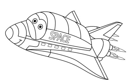 Coloring page. Coloring picture of cartoon space shuttle. Childish design for kids activity colouring book about transport.