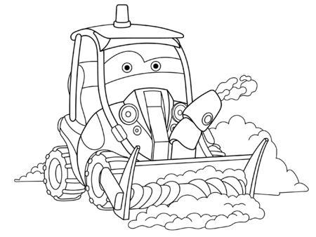 Pagina da colorare. Immagine da colorare del camion spazzaneve dei cartoni animati. Design infantile per attività per bambini libro da colorare sui trasporti.