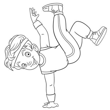 Kolorowanka. Kolorowanie obrazu kreskówki b-boy taniec, młody tancerz breakdance. Dziecinny projekt dla aktywności dzieci kolorowanka o zawodach ludzi. Ilustracje wektorowe