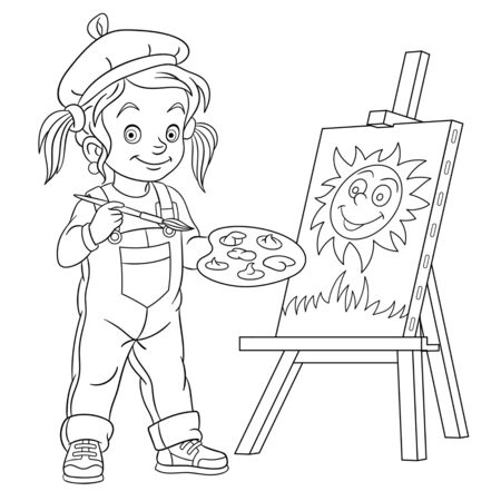 Coloring page. Coloring picture of cartoon girl drawing, young painting artist. Childish design for kids activity colouring book about people professions.
