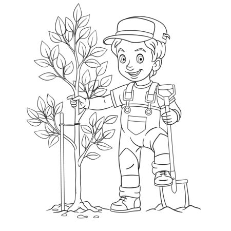Coloring page. Coloring picture of cartoon young farmer, boy planting a tree. Childish design for kids activity colouring book about people professions.