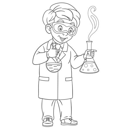 Coloring page. Coloring picture of cartoon young chemist holding test tubes for chemical experiment. Childish design for kids activity colouring book about people professions. Archivio Fotografico - 138736530