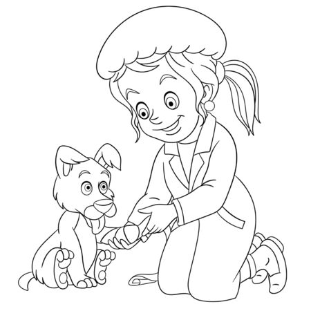 Coloring page. Coloring picture of cartoon vet girl, young veterinarian helping a dog. Childish design for kids activity colouring book about people professions.