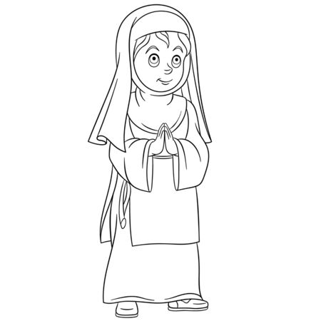 Coloring page. Coloring picture of cartoon girl praying, young religious nun. Childish design for kids activity colouring book about people professions. Ilustrace