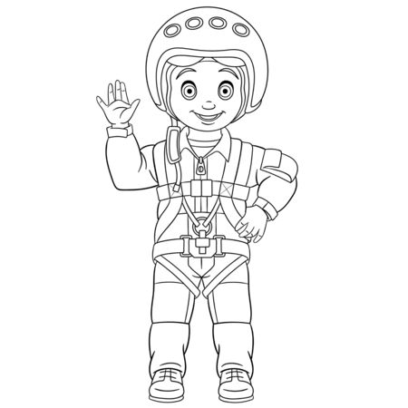Coloring page. Coloring picture of cartoon pilot, skydiver or cosmonaut. Childish design for kids activity colouring book about people professions. Archivio Fotografico - 138736474