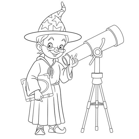 Coloring page. Coloring picture of cartoon magic wizard or astronomer with telescope. Childish design for kids activity colouring book about people professions. Archivio Fotografico - 138736550