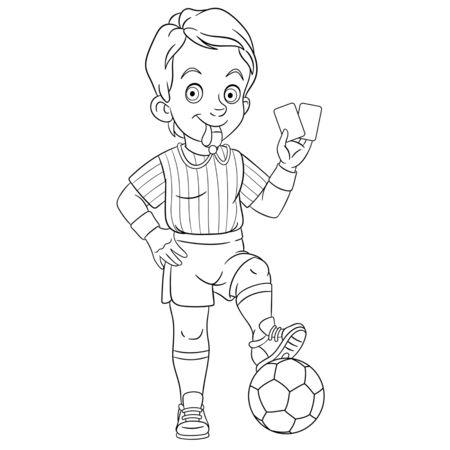 Página para colorear. Dibujo para colorear de árbitro de fútbol de dibujos animados. Diseño infantil para el libro de colorear de actividades para niños sobre profesiones de personas.