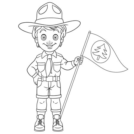 Coloring page. Coloring picture of cartoon happy boy scout. Childish design for kids activity colouring book about people professions.