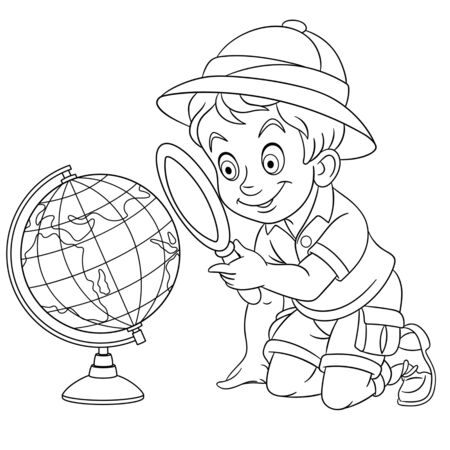 Coloring page. Coloring picture of cartoon schoolboy studying world globe. Childish design for kids activity colouring book about school.