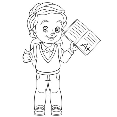 Coloring page. Coloring picture of cartoon boy showing he passed the exam with evaluation A plus. Childish design for kids activity colouring book about school.