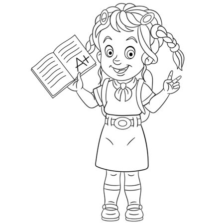 Coloring page. Coloring picture of cartoon girl showing she passed the exam with evaluation A plus. Childish design for kids activity colouring book about school. Ilustração