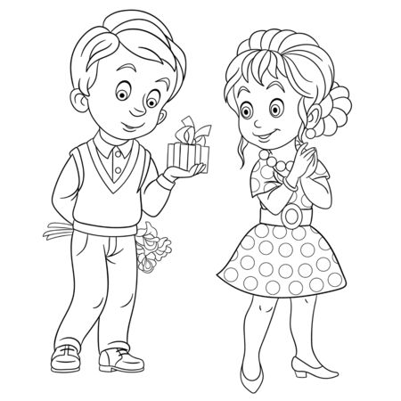 Coloring page. Coloring picture of cartoon lovely couple on Valentines Day. Childish design for kids activity colouring book about people lifestyle.