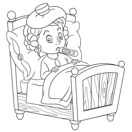 Coloring page. Coloring picture of cartoon girl lying in bed and feeling fever. Childish design for kids activity colouring book about health care.