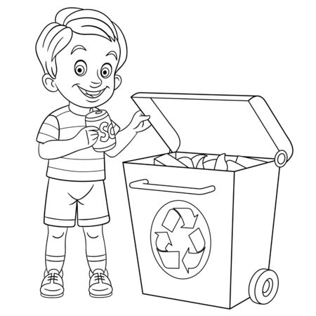 Coloring page. Coloring picture of cartoon eco friendly boy sorting his garbage. Childish design for kids activity colouring book about people lifestyle.