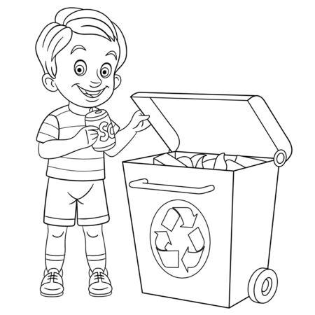 Pagina da colorare. Immagine di colorazione del ragazzo amichevole di eco del fumetto che ordina la sua immondizia. Design infantile per attività per bambini libro da colorare sullo stile di vita delle persone.