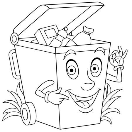 Coloring page. Coloring picture of cartoon trash can full of garbage. Childish design for kids activity colouring book about environment protection.  イラスト・ベクター素材