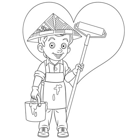 Coloring page. Coloring picture of cartoon painter who draw a heart on the wall. Childish design for kids activity colouring book about people professions. Archivio Fotografico - 138736496