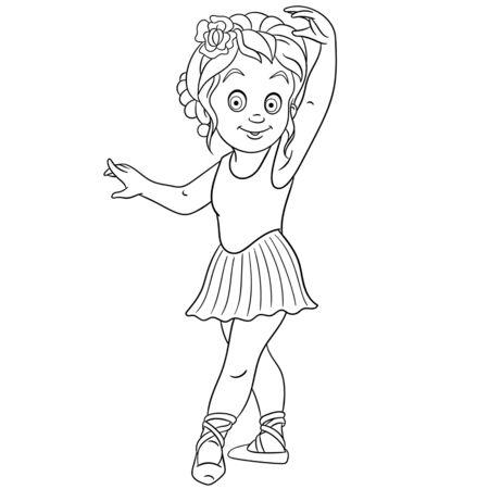 Coloriage. Image à colorier d'une ballerine de dessin animé, jeune danseuse de ballet. Conception enfantine pour les enfants activité livre de coloriage sur les professions des gens. Vecteurs