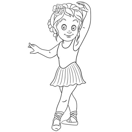 Coloring page. Coloring picture of cartoon ballerina, young ballet dancer. Childish design for kids activity colouring book about people professions. 일러스트
