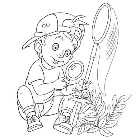 Coloriage. Image à colorier d'un garçon de dessin animé découvrant la nature. Conception enfantine pour les enfants activité livre de coloriage sur les professions des gens.