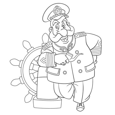 Coloring page. Coloring picture of cartoon old sailor, ships captain. Childish design for kids activity colouring book about people professions. Stock Illustratie