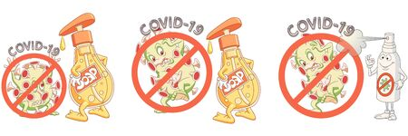 COVID-19 infection cell with red warning sign. Stop coronavirus spreading concept. Cute cartoon character of 2019-nCoV novel virus. Corona virus prohibited sign. Vector illustration Stock Illustratie