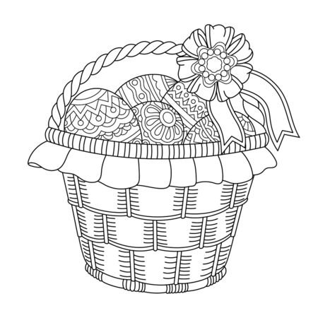 Coloring page. Easter basket. Cute holiday decoration. Line art design for adult or kids colouring book in style. Vector illustration.