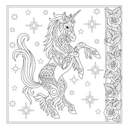 Coloring page. Magical unicorn among stars. Vintage filigree frame with roses. Line art design for adult colouring book with doodle and elements. Stock Illustratie