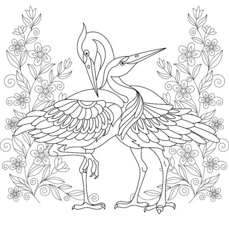 Coloring page. Beautiful crane birds among flowers. Line art design for adult colouring book with doodle and elements. Stock Illustratie