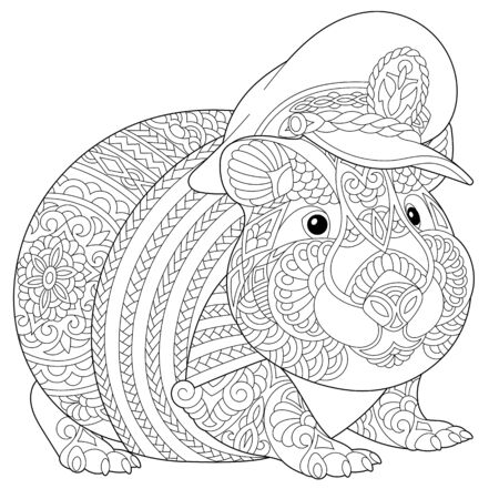 Coloring page. Coloring picture of cute hamster or guinea pig. Line art design for adult colouring book with doodle and elements. Stock Illustratie