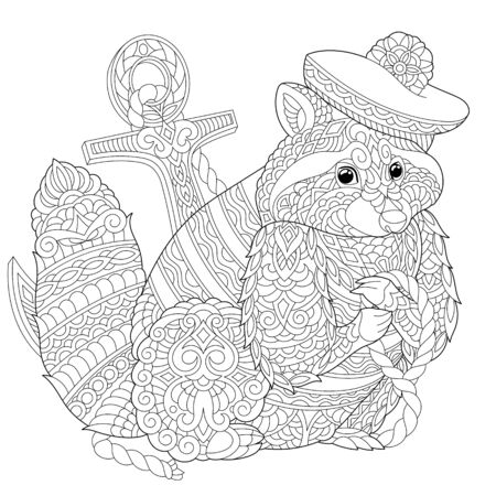 Coloring page. Coloring picture of cute sea sailor raccoon. Line art design for adult colouring book with doodle and elements.