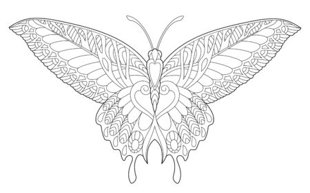 Coloring page. Coloring picture of beautiful butterfly. Line art design for adult colouring book with doodle and elements.
