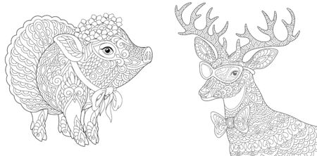 Adult coloring pages. Cute piggy and deer. Line art design for antistress colouring book in zentangle style. Vector illustration.