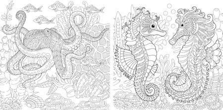 Coloring book. Underwater landscapes with octopus and seahorses. Line art design for adult or kids colouring page in zentangle style. Vector illustration.