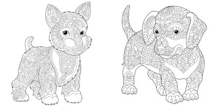 Animal coloring pages. Cute yorkshire terrier and dachshund. Line art design for adult or kids colouring book in zentangle style. Vector illustration.  Stock Illustratie