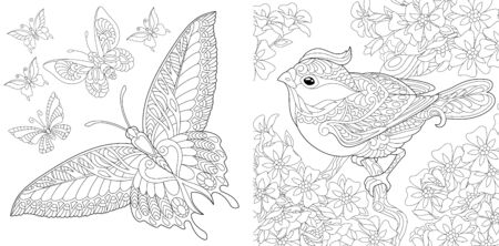 Adult coloring book. Vintage butterfly collection. Bird in flourish garden. Line art design for antistress colouring pages in zentangle style. Vector illustration.  Stock Illustratie