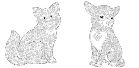 Animal coloring pages. Funny cat and chihuahua dog. Line art design for adult or kids colouring book in zentangle style. Vector illustration.