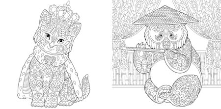 Adult coloring pages. Cat in crown and panda bear. Line art design for antistress colouring book in zentangle style. Vector illustration.  Stock Illustratie
