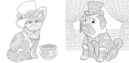 Animal coloring pages. Leprechaun cat with gold pot and pug dog in retro tuxedo and hat. Line art design for adult or kids colouring book in zentangle style. Vector illustration.