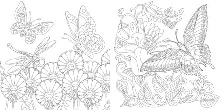 Coloring book. Vintage butterflies among flowers. Line art design for adult or kids colouring page in zentangle style. Vector illustration.  Stock Illustratie