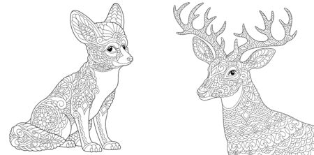 Adult coloring book. Fennec fox and Christmas reindeer. Line art design for antistress colouring pages in zentangle style. Vector illustration.
